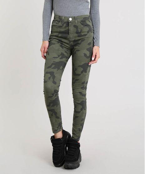 e8a6fded6 Calca-Feminina-Super-Skinny-Estampada-Camuflada-Verde-Militar-