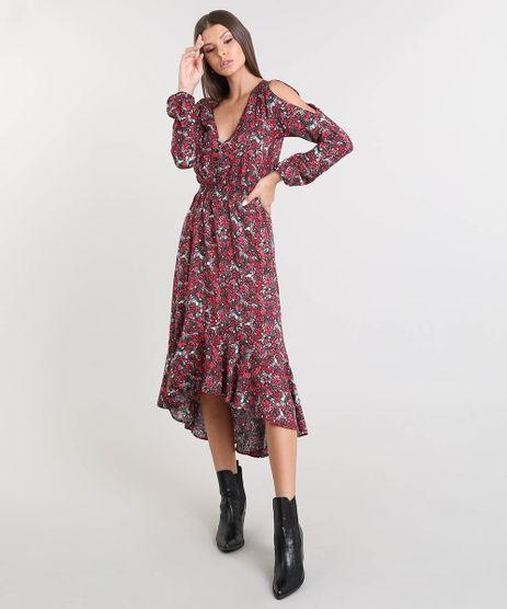 abe30b3d35 Vestido-Feminino-Midi-Open-Shoulder-Estampado-Floral-com-
