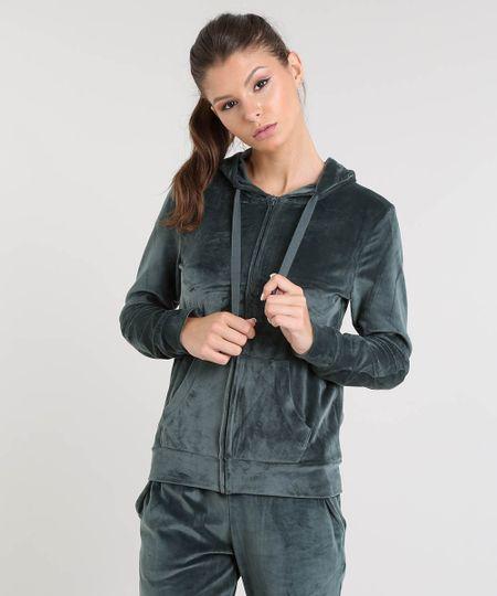 cb9e49371 Menor preço em Blusão Feminino Esportivo Ace em Plush com Capuz Verde Escuro
