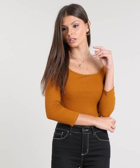 Blusa-Feminina-Basica-Canelada-Decote-Canoa-Manga-3-4-Caramelo-9058250-Caramelo_1