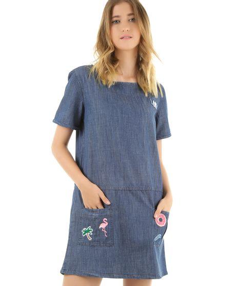 3f5942a811 Vestido-Jeans-com-Patch-Azul-Medio-8430283-Azul Medio 1. Moda Feminina