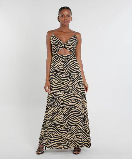 17efcd63a Vestido Feminino Mindset Longo Estampado Animal Print com Fenda Bege