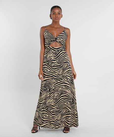 Vestido-Feminino-Mindset-Longo-Estampado-Animal-Print-com-Fenda-Bege-9544639-Bege_1