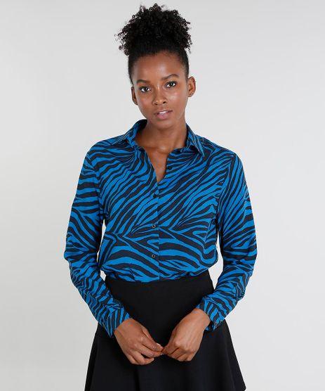 Camisa-Feminina-Mindset-Estampada-Animal-Print-Manga-Longa-Azul-9544640-Azul_1