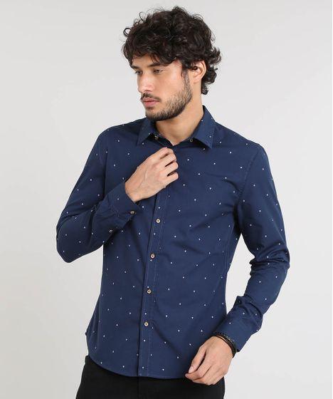 669e0e4a4e Camisa Masculina Slim Estampada de Âncoras Manga Longa Azul Marinho ...