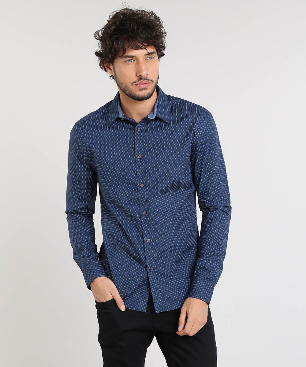 6f302084ef Camisa Masculina Slim Estampada Poá Manga Longa Azul Marinho - cea