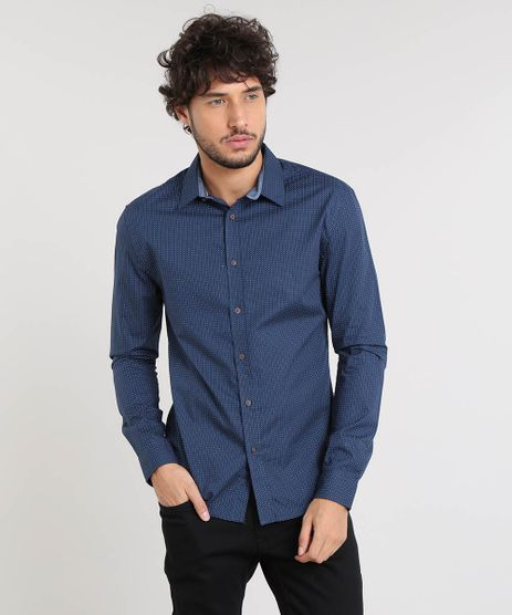 Camisa-Masculina-Slim-Estampada-Poa-Manga-Longa-Azul-Marinho-9167872-Azul_Marinho_1