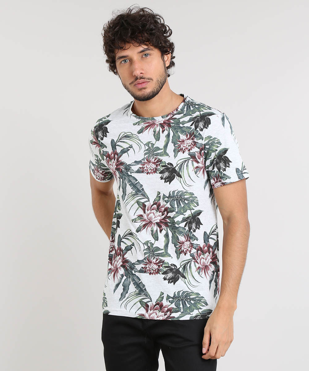 ef89316bf54ef Camiseta Masculina Slim Fit Estampada Floral Manga Curta Gola Careca ...
