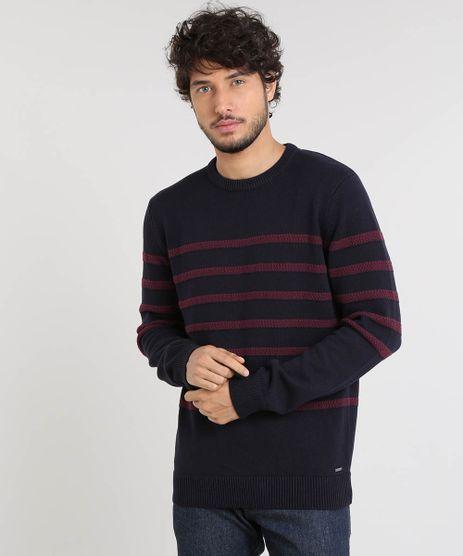 Sueter-Masculino-em-Trico-Listrado-Gola-Careca-Azul-Marinho-9327991-Azul_Marinho_1
