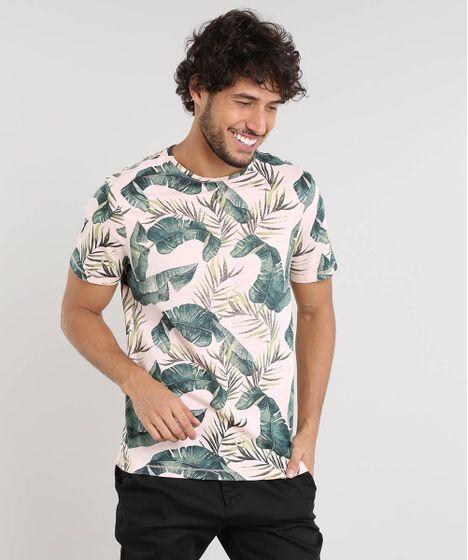 7cc8a0ab51 Camiseta Masculina Slim Fit Estampada de Folhagem Manga Curta Gola ...
