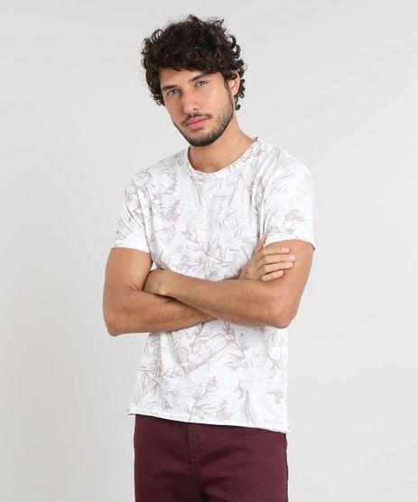 Camiseta-Masculina-Slim-Fit-Estampada-de-Folhagem-Manga-Curta-Gola-Careca-Off-White-9351630-Off_White_1