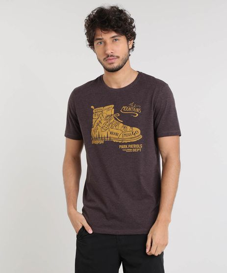 Camiseta-Masculina--The-Mountains--Manga-Curta-Gola-Careca-Marrom-9447385-Marrom_1