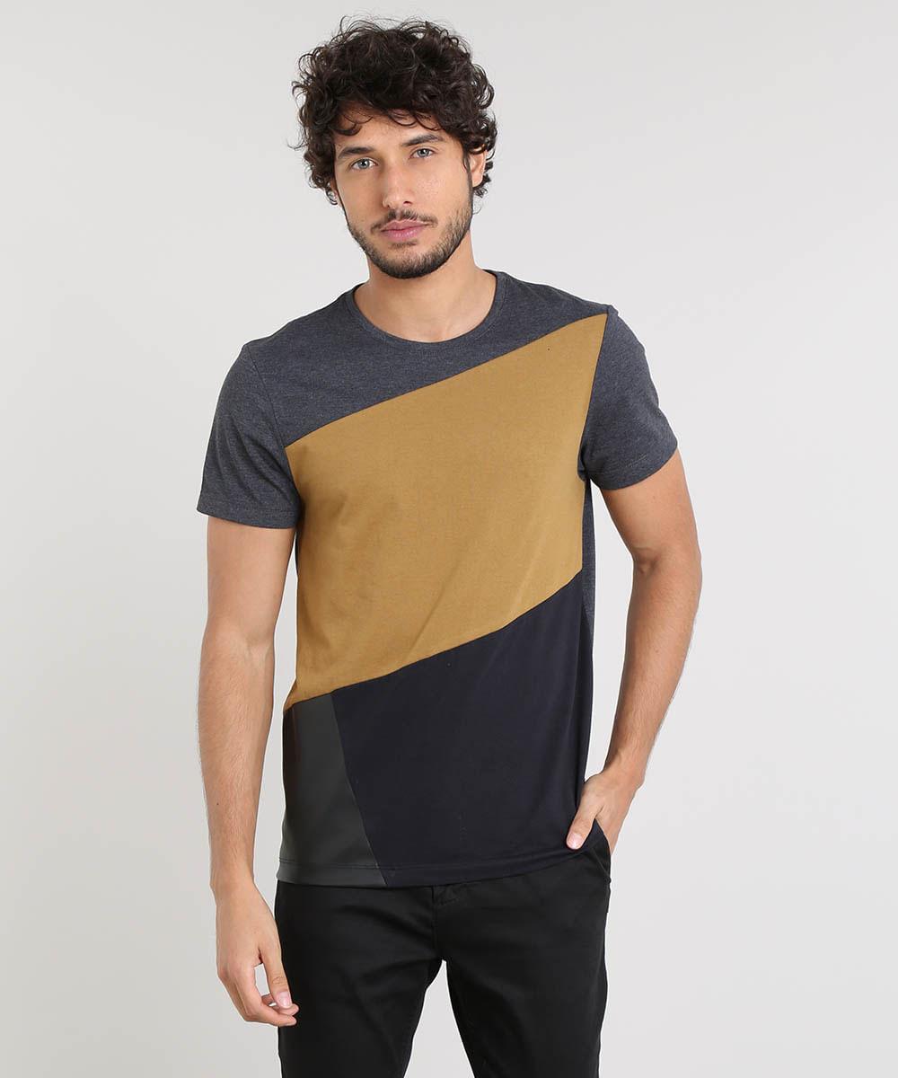 0397f75c1f Camiseta Masculina Slim Fit com Recorte Manga Curta Gola Careca ...