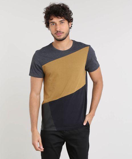 Camiseta-Masculina-Slim-Fit-com-Recorte-Manga-Curta-Gola-Careca-Cinza-Mescla-Escuro-9455586-Cinza_Mescla_Escuro_1