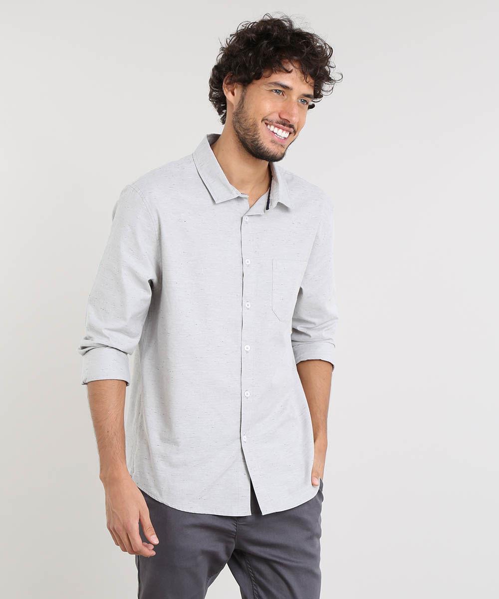 ff22efbaf ... Camisa-Masculina-Relaxed-Manga-Longa-Cinza-Claro-9466513-