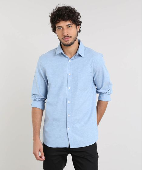 8ebe1fdf0d Camisa-Masculina-Relaxed-Manga-Longa-Azul-Claro-9466514- ...