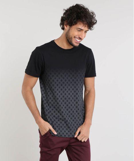 78a78ec3801871 Camiseta Masculina Slim Fit com Estampa Degradê Manga Curta Gola ...