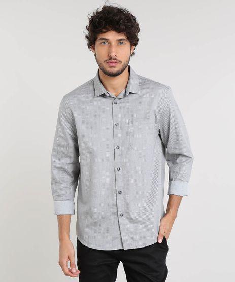 Camisa-Masculina-Relaxed-Mini-Print-com-Bolso-Manga-Longa-Cinza-9468012-Cinza_1