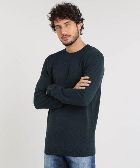 Sueter-Masculino-Basico-em-Trico-Verde-Escuro-9364114-Verde_Escuro_1