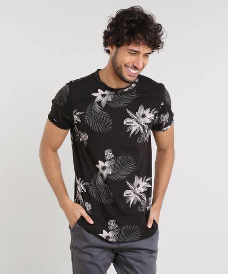 Camiseta-Masculina-Slim-Fit-Estampada-Floral-Manga-Curta-Gola-Careca-Preta-9388075-Preto_1