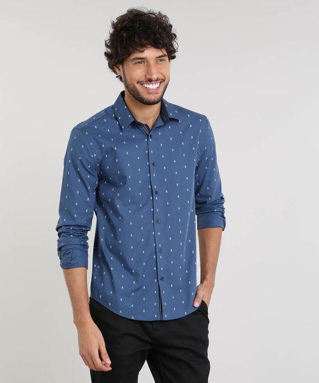 Camisa-Masculina-Slim-Estampada-Mini-Print-Manga-Longa-Azul-9253787-Azul_1