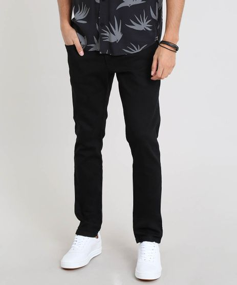 Calca-Jeans-Masculina-Slim-com-Bolsos-Preta-9450049-Preto_1