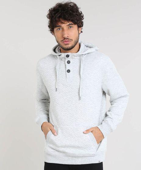 Blusao-Masculino-Texturizado-com-Capuz-e-Gola-Cinza-Mescla-Claro-9349169-Cinza_Mescla_Claro_1