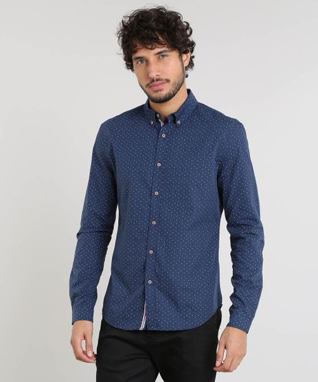 Camisa-Masculina-Slim-Estampada-Mini-Print-Manga-Longa-Azul-Marinho-9253937-Azul_Marinho_1