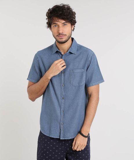 Camisa-Masculina-Texturizada-com-Manga-Curta-Azul-9522630-Azul_1