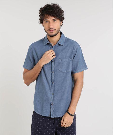 2cc5f41b09 Camisa-Masculina-Texturizada-com-Manga-Curta-Azul-9522630- ...
