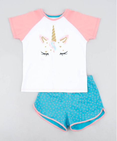 9cd965c93 Pijama Infantil Raglan Unicórnio com Glitter Manga Curta Off White - cea