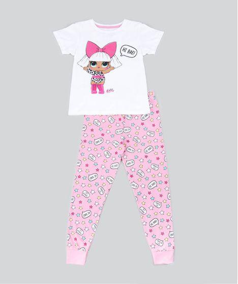 0e6c0f478 Pijama Infantil LOL Surprise Manga Curta Off White - cea