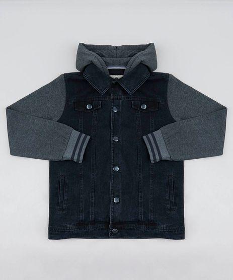 Jaqueta-Jeans-Infantil-com-Capuz-e-Mangas-em-Moletom-Preta-9358259-Preto_1