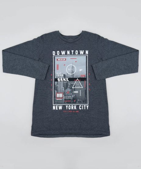 Camiseta-Infantil-com-Estampa--Downtown--Manga-Longa-Gola-Careca-Cinza-Mescla-Escuro-9458303-Cinza_Mescla_Escuro_1
