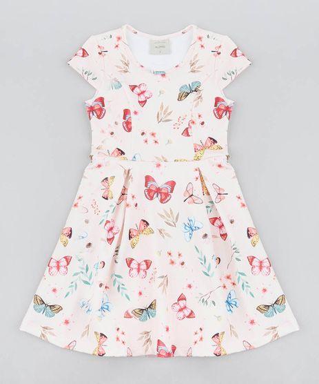 d9dc3ea17 Vestido-Infantil-Estampado-de-Borboletas-Manga-Curta-Rosa-