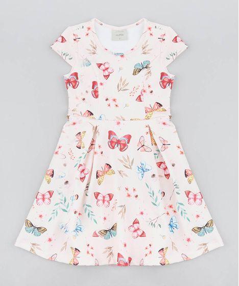 c98e8cd7d Vestido Infantil Estampado de Borboletas Manga Curta Rosa Claro - cea