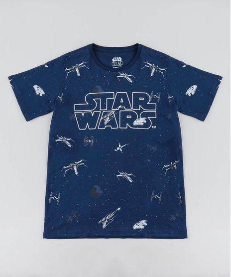 Camiseta-Infantil-Estampada-Star-Wars-Manga-Curta-Gola-Careca-Azul-Marinho-9442326-Azul_Marinho_1