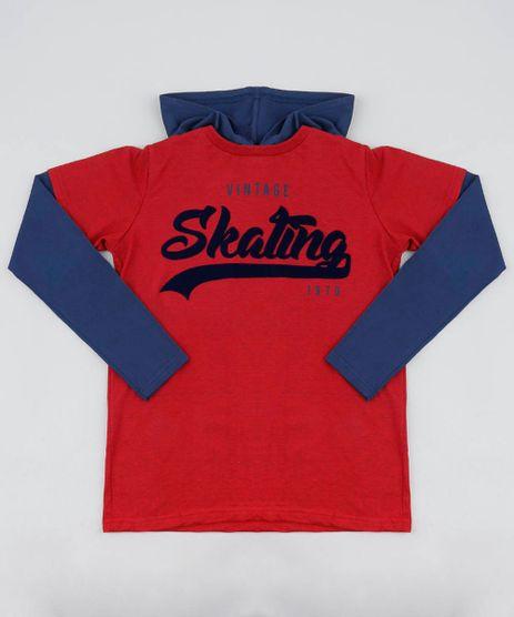 Camiseta-Infantil--Vintage-Skating--com-Capuz-Manga-Longa-Vermelha-9440390-Vermelho_1