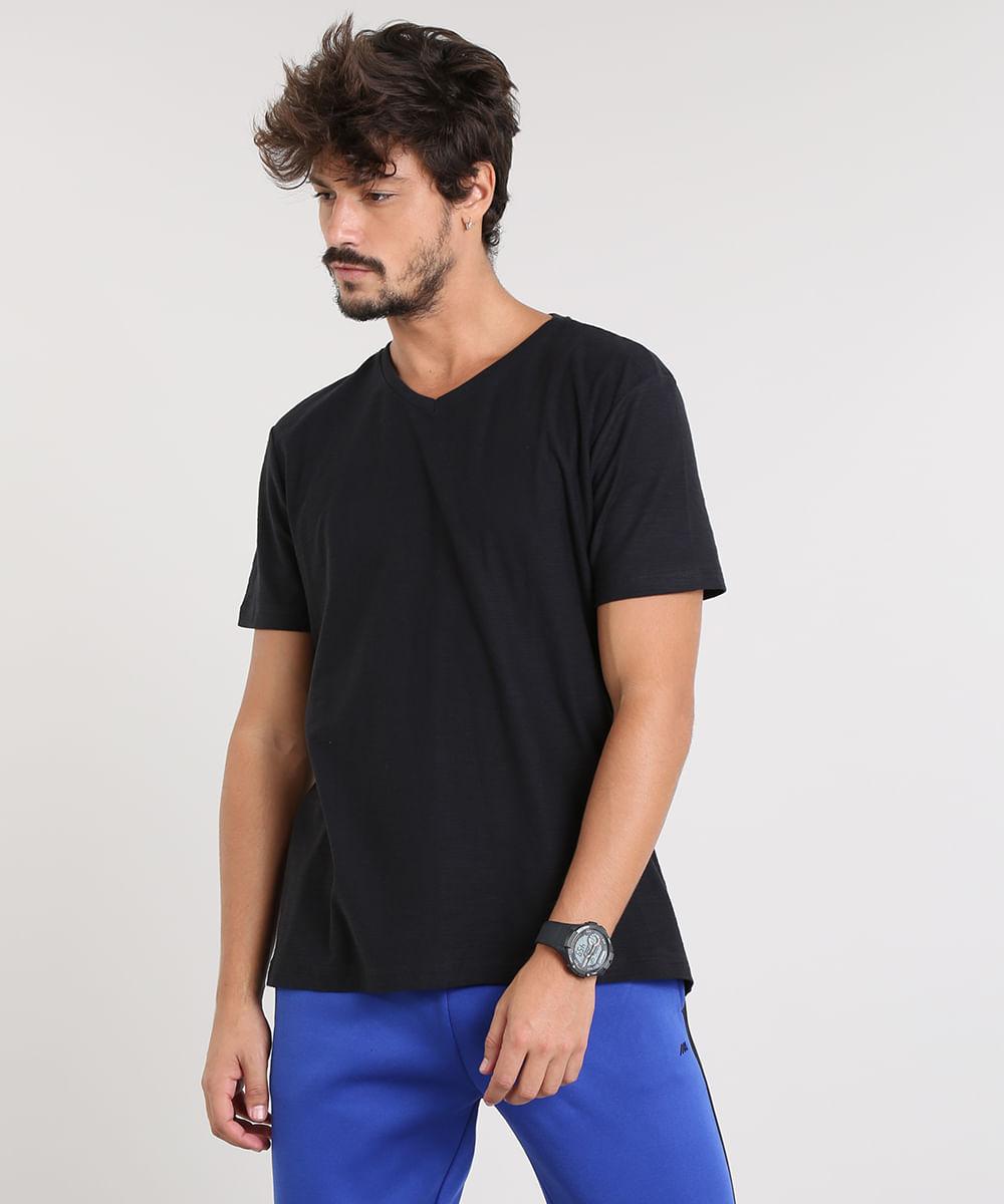 5dad9d7402 Camiseta Masculina Básica Flamê Manga Curta Gola V Preta - cea