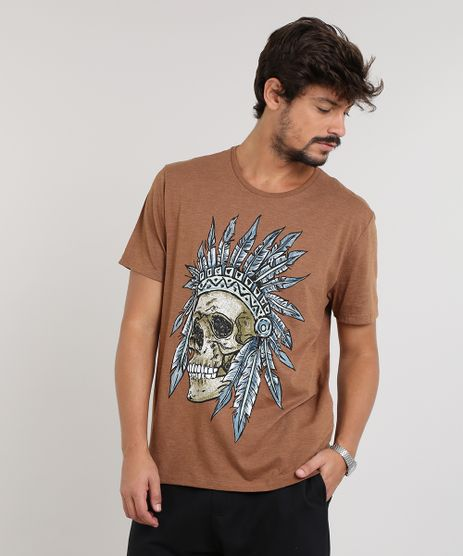 a93dfc321e Camiseta-Masculina-Caveira-com-Cocar-Manga-Curta-Gola-