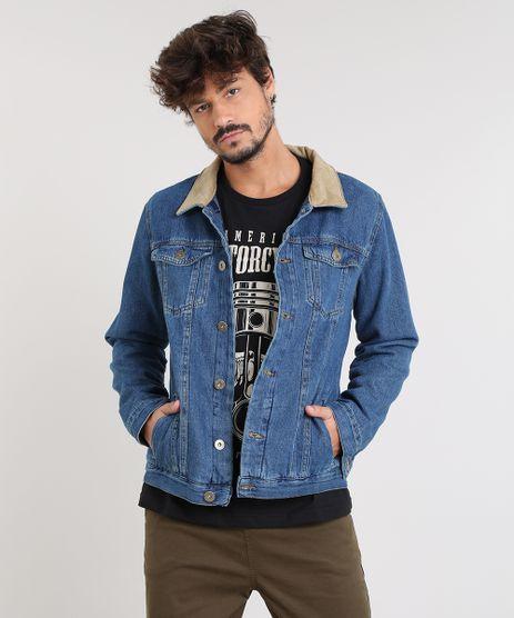 Jaqueta-Jeans-Masculina-com-Veludo-Cotele-Azul-Medio-9504779-Azul_Medio_1