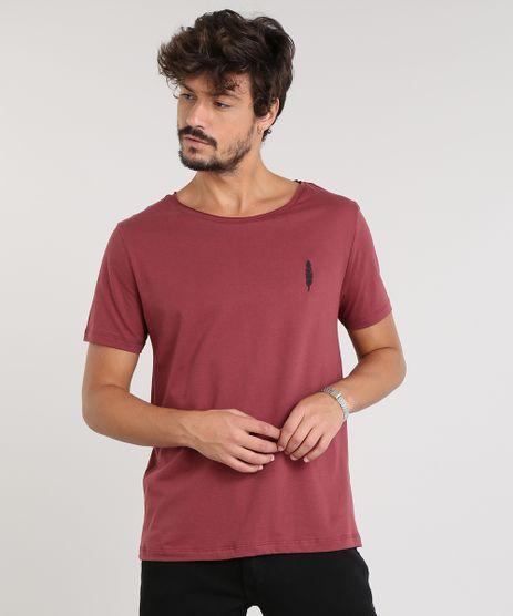 Camiseta-Masculina-com-Bordado-de-Pena-Manga-Curta-Gola-Careca-Vinho-9468146-Vinho_1
