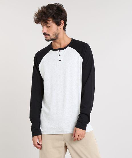 Camiseta-Masculina-Raglan-com-Botoes-Manga-Longa-Gola-Careca-Cinza-Mescla-Claro-9463101-Cinza_Mescla_Claro_1