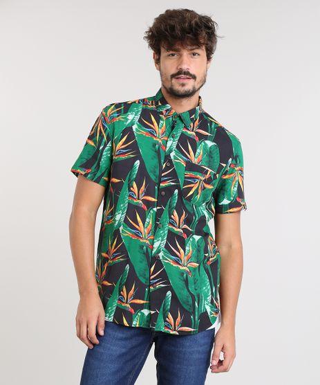 Camisa-Masculina-Estampada-de-Folhagem-com-Bolso-Manga-Curta-Preta-9455020-Preto_1