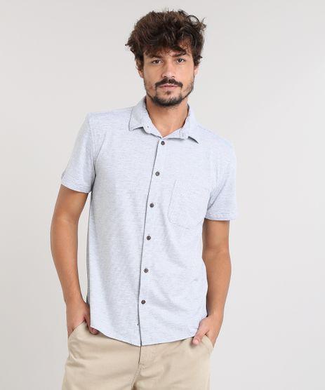 Camisa-Masculina-Listrada-com-Bolso-Manga-Curta-Cinza-Mescla-Claro-9455019-Cinza_Mescla_Claro_1