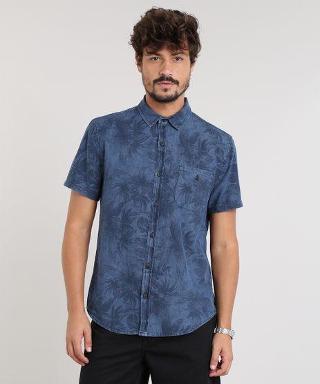 Camisa-Jeans-Masculina-Estampada-de-Folhagem-com-Bolso-Manga-Curta-Azul-Escuro-9459668-Azul_Escuro_1