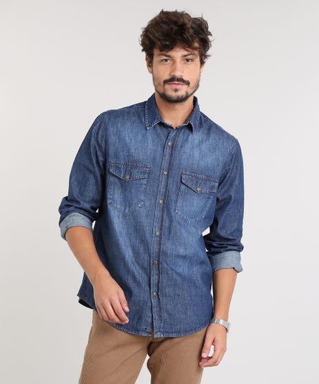 Camisa-Jeans-Masculina-com-Bolsos-Manga-Longa-Azul-Escuro-9449455-Azul_Escuro_1