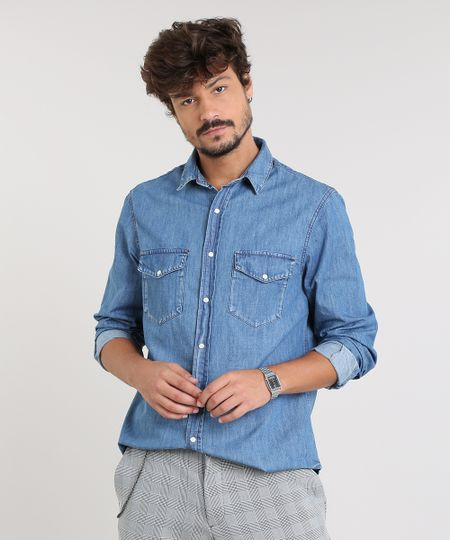 36149bc20e Camisa Jeans Masculina com Bolsos Manga Longa Azul Médio
