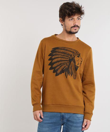Blusao-Masculino-Indio-em-Moletom-Gola-Careca-Caramelo-9486884-Caramelo_1