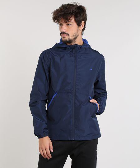 a28a7f8a4 Jaqueta Corta Vento Masculina Esportiva Ace com Capuz Azul Marinho